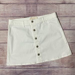 Altar'd State White Snap Front A-Line Mini Skirt L
